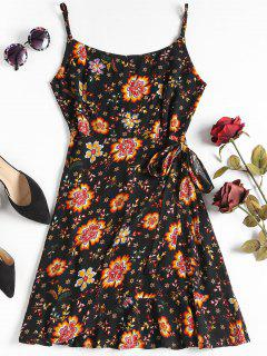 Overlap Floral Mini Dress - Black M