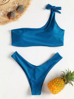 Conjunto De Bikini De Tanga Atado Con Un Solo Hombro - Azul De Arándanos S