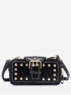 Stud Buckle Closure Mini Crossbody Bag - Black Horizontal
