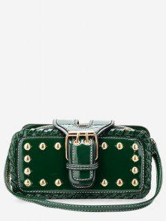 Stud Buckle Closure Mini Crossbody Bag - Green Horizontal
