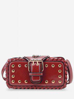 Stud Buckle Closure Mini Crossbody Bag - Red Horizontal
