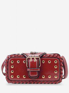 Stud Buckle Closure Mini Crossbody Bag - Red Horizontal