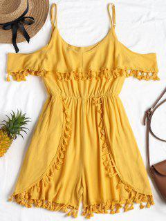 Open Shoulder Tassels Trim Romper - Bright Yellow M