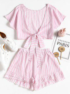Bowknot Stripes Top And Tiered Hem Shorts Set - Pig Pink L