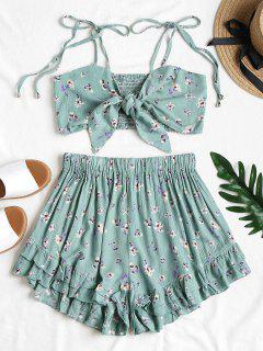 Tie Front Floral Top And Shorts Set - Cyan Opaque L