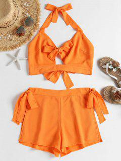 Self-tie Crop Top And Shorts Set - Dark Orange S