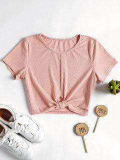 Ribbed Knotted Top - Light Pink L