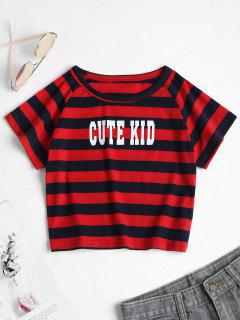 Striped Letter Graphic Cropped T Shirt - Red M