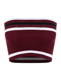 Ribbed Striped Tube Top - Red Wine M