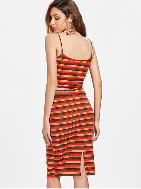sale Twist Stripe Knit Two Piece Dress - RED L Mobile