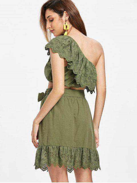 women's Flounce One Shoulder Two Piece Dress - ARMY GREEN XL Mobile