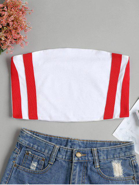 outfit Ribbons Patched Bandeau Top - WHITE M Mobile