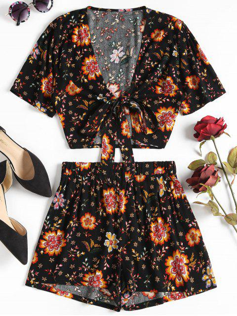 ladies Floral Tie Front Top and Shorts Set - BLACK L Mobile