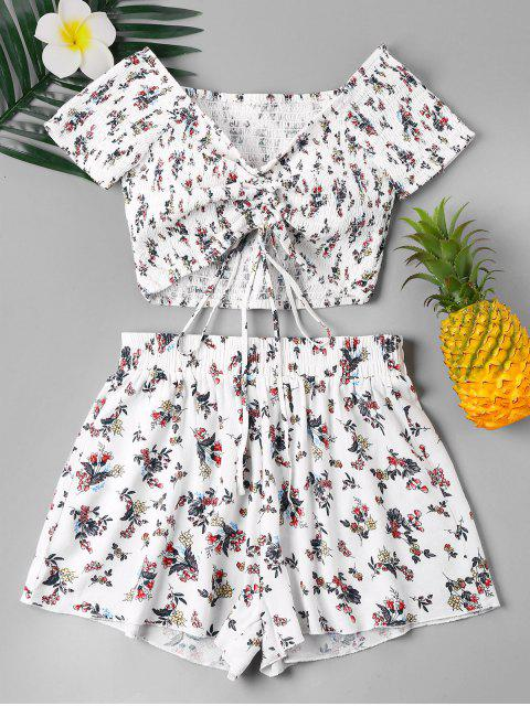 sale Floral Smocked Two Piece Shorts Set - WHITE S Mobile