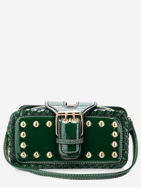 shops Stud Buckle Closure Mini Crossbody Bag - GREEN HORIZONTAL Mobile