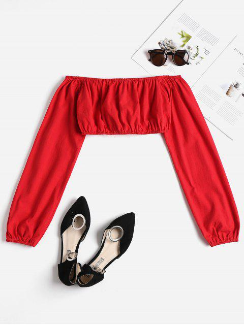 womens Off Shoulder Cinched Top - LOVE RED L Mobile