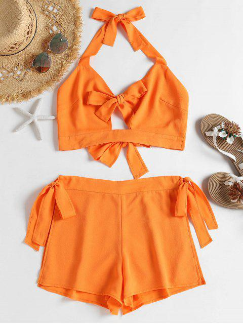buy Self-tie Crop Top and Shorts Set - DARK ORANGE S Mobile