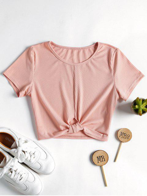online Ribbed Knotted Top - LIGHT PINK L Mobile