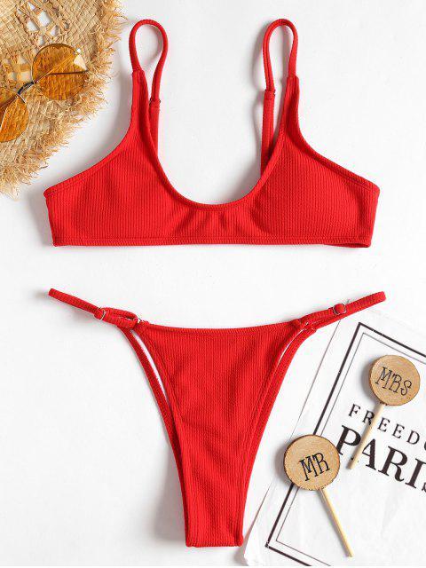 ladies Rib High Leg Bikini Set - LOVE RED S Mobile