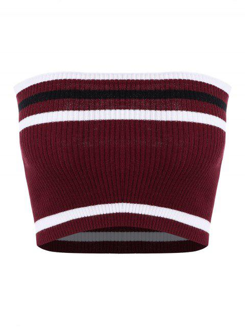 online Ribbed Striped Tube Top - RED WINE XL Mobile