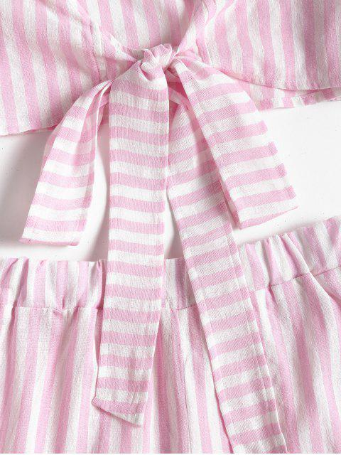 best Bowknot Stripes Top and Tiered Hem Shorts Set - PIG PINK XL Mobile
