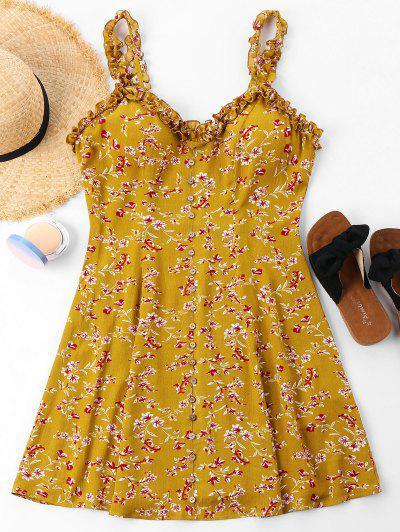 Vestido De Botões Com Estampa Floral - Ônibus Escolar Amarelo L