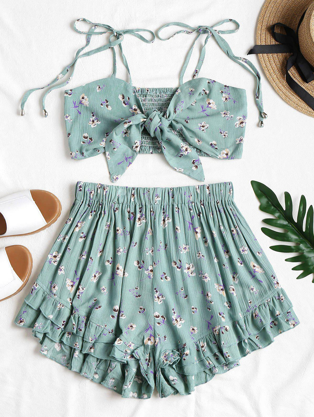 Tie Front Floral Top and Shorts Set 264373403