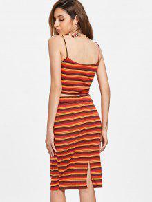 Dos Knit M Twist De Vestido Stripe Piezas Rojo qZqgIw