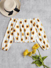 Off The Shoulder Sunflower Print Top