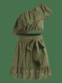 De S Verde One Flounce Piezas Shoulder Ejercito Vestido Dos wdTzqwS