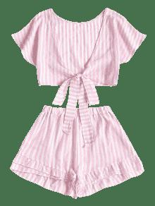 Tiered Stripes 243;n Corto Cerdo Bowknot Y Rosa Top Hem De S Pantal Conjunto XwqR8R