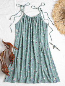 Vestido Floral Anudado De Cami Azul S Opaco rvrHCqpwWx