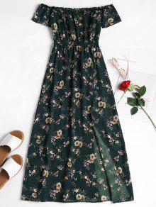 قبالة الكتف الأزهار فستان الشمس - Dark Forest Green L
