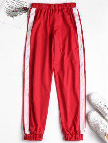 سروال رياضي بنمط مخطط جانبي (Stripe Side Jogger Tracksuit) - أحمر M