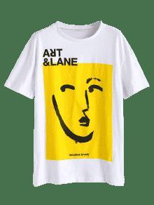 Blanco Gr Camiseta o 225;fico Con De Tama S Frente Gran qCn8qwa