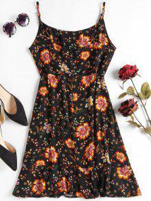 Vestido S Negro Floral Mini Superpuesto Tqvt6dnwTI