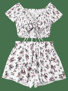 Pantalones Piezas De Conjunto Deshilachados S Florales Blanco Dos Cortos De qX46xa5T