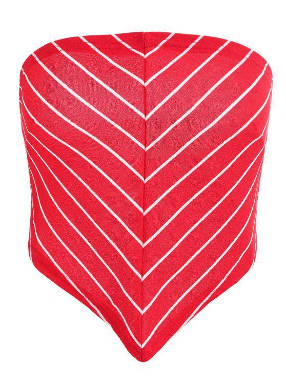 Top Bandeau Rayé à Dos Noué - Rouge Lave 2XL