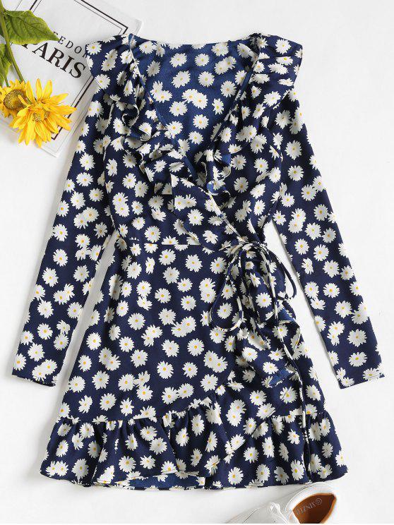 fancy Daisy Print Ruffle Mini Wrap Dress - MIDNIGHT BLUE S