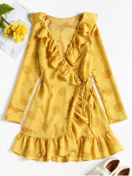 564c70da144 25% OFF  2019 Sunflower Print Ruffle Mini Wrap Dress In GOLDENROD ...