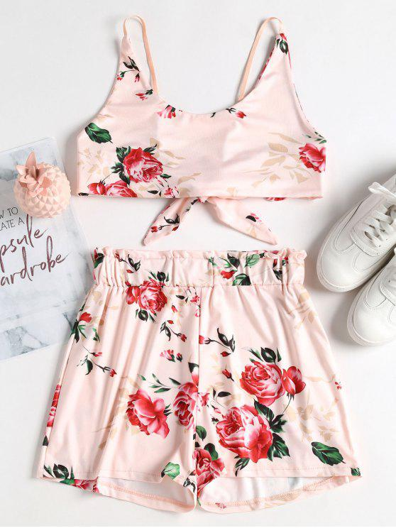 womens Floral Tie Back Crop Top and Shorts Set - PEARL L