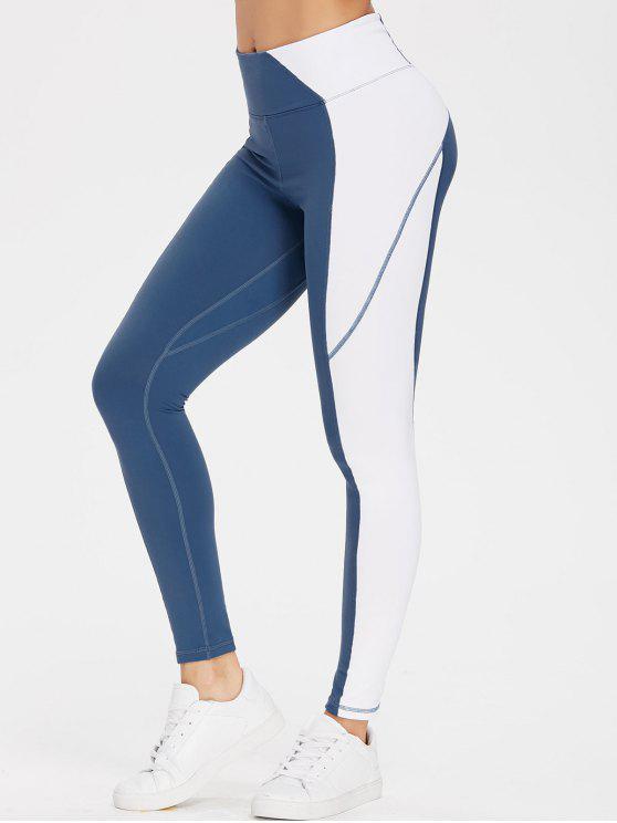 latest Colourblock High Waisted Sports Gym Leggings - SILK BLUE S