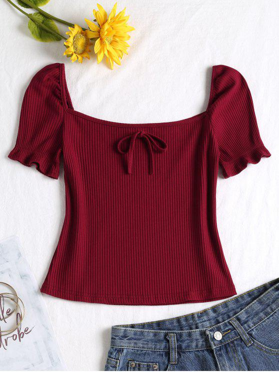 lady Square Collar Knot Tee - RED WINE S