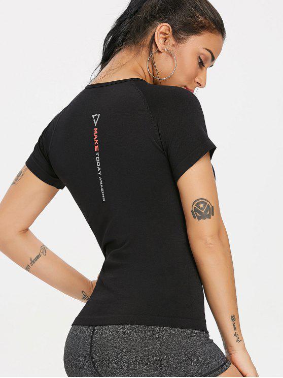 Nahtloses Feuchtigkeitstransport Gym T-Shirt - Schwarz L