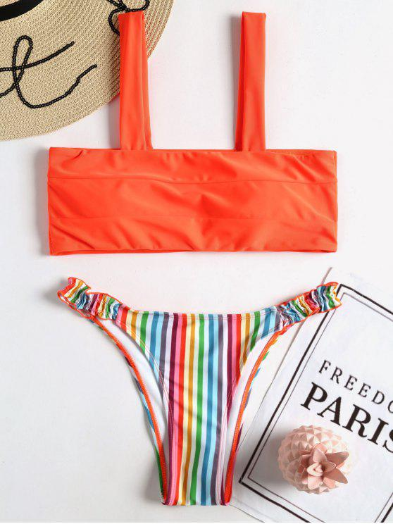 ladies Neon Rainbow Stripe Bikini Set - MULTI M