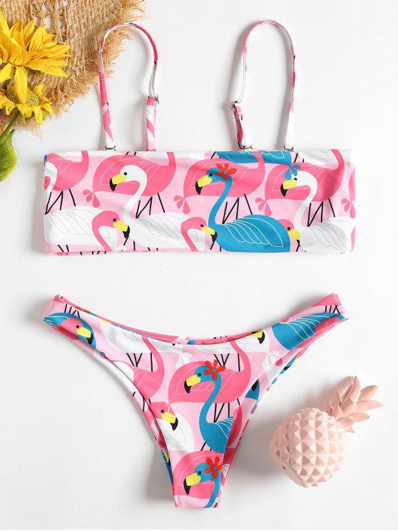 outfits Flamingo Print Bandeau Bikini Set - MULTI-G L