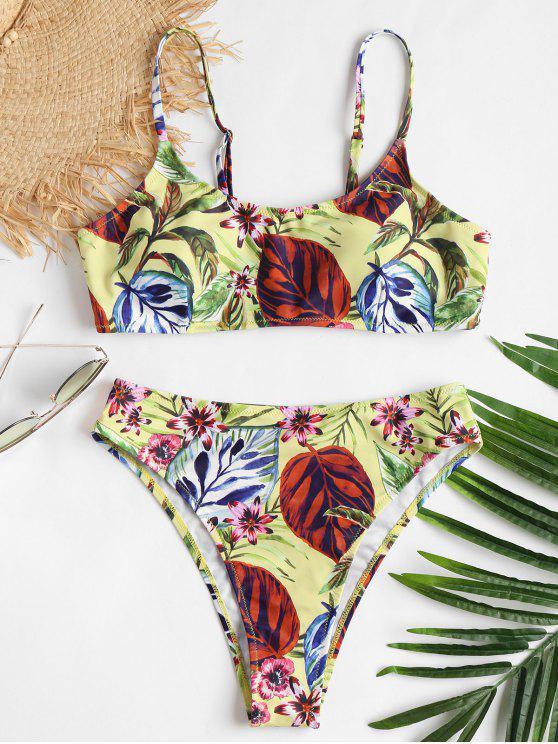 Bikini con estampado cami de corte alto - Amarillo L