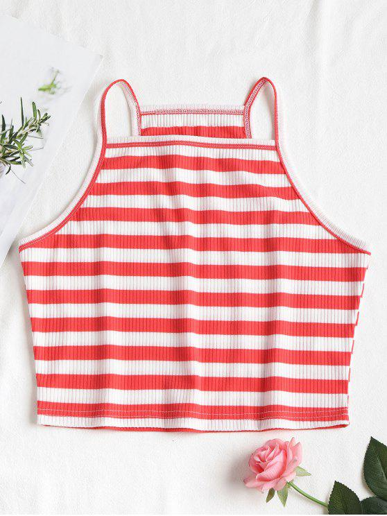 Stripes Cropped Cami Top - Rojo Frijol L