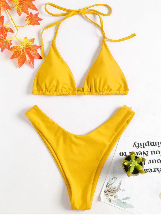 Hohes Bein Halter Bikini-Set - Helles Gelb S