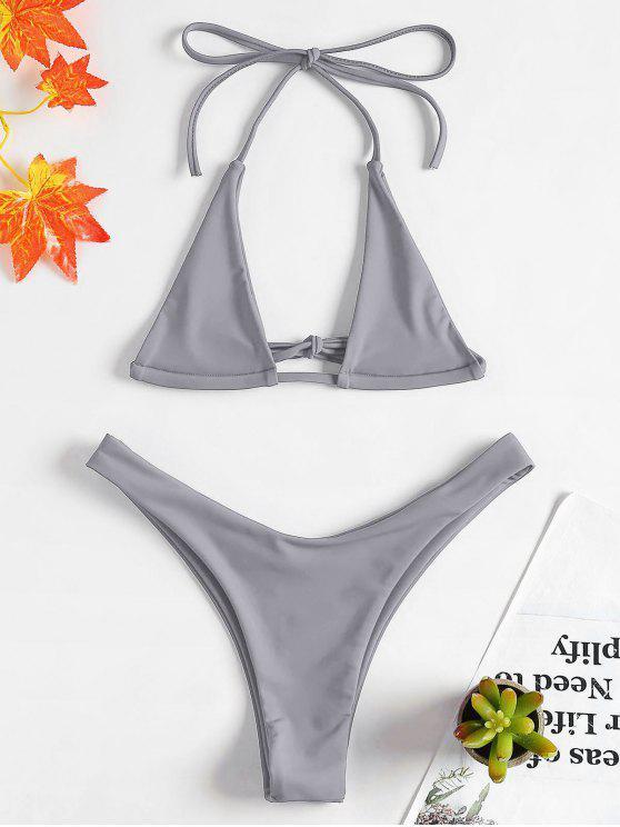 womens Halter Micro Bikini Set - DARK GRAY M
